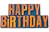 happy birthday in letterpress wood type