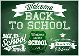 set  vector patterns for back to school on green blackboard