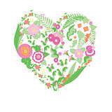 Wedding colorful flower heart.