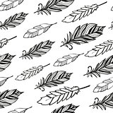 Seamless pattern. Hand drawn bird black feathers.