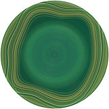 Isolated empty round glazed plate with color frame
