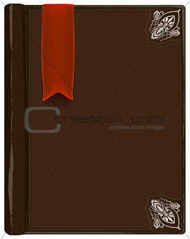 Closed brown book with bookmark