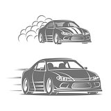 Sport car vector logo design. Street racing illustration. Drift show elements