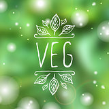 Veg - product label on blurred background