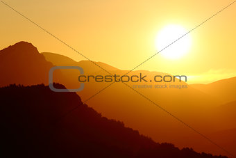 Back light of a sunset on a mountain