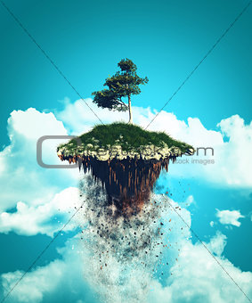 3D floating island exploding into the sky