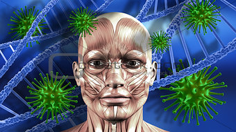 3D medical background with male face, DNA strands and virus cell