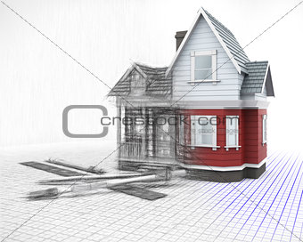 3D timber house on a grid with drawing instruments with half in
