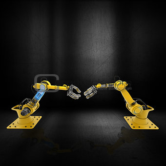 3D robot arms on a grunge metallic background