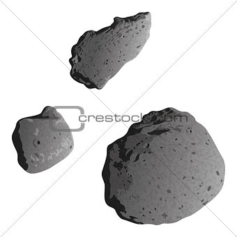 Asteroids, isolated on white
