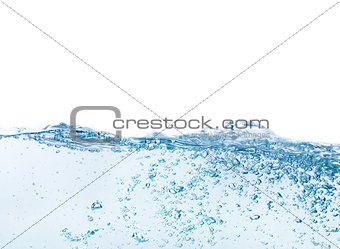 Water splash with bubbles of air, isolated on the white backgrou
