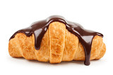 fresh croissant with hot chocolate on a white background