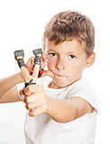 little cute angry boy with slingshot isolated