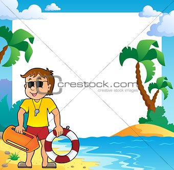 Beach theme frame with life guard