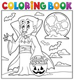 Coloring book with Halloween vampire