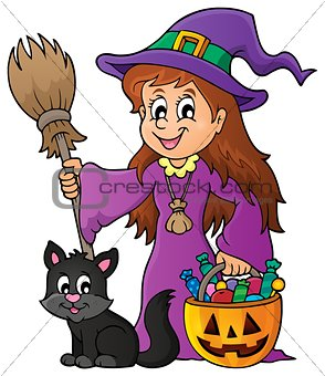 Cute witch and cat theme image 1