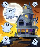 Ghosts flying around haunted house