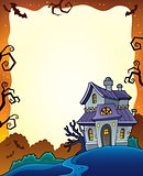 Halloween frame with haunted house 1