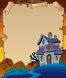 Parchment with haunted house thematics 4