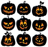 Pumpkin silhouettes theme set 2