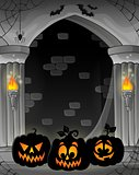 Stylized alcove with pumpkin silhouettes