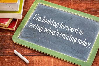 Positive affirmation phrase on blackboard
