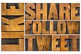 like, share, tweet, follow word abstract
