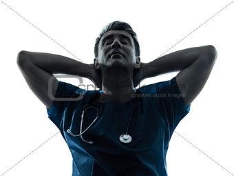 doctor man happy resting silhouette portrait