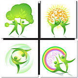 Eco-icon green dancers with tree concept