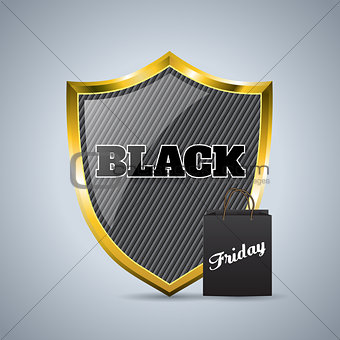 Black friday advertising background design with shield badge and