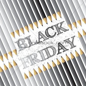 Black friday advertising background with pencils and text