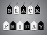 Black and white labels with Black Friday text