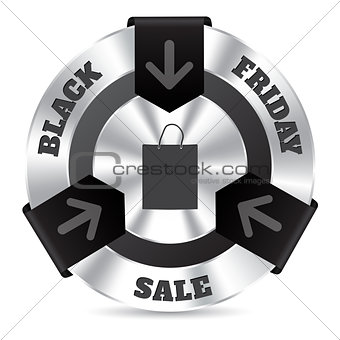 Black friday badge with shopping bag