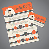 Resume cv template with business card
