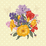 Beautiful Spring and Summer Floral Bouquet for Invitation Card