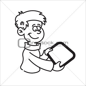 boy holding a tablet and smiling