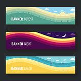 set of landscape scenes banners