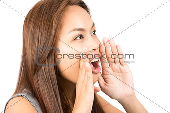 Asian Girl Telling Secret Hands Protecting Mouth