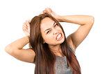 Frustrated Asian Girl Temper Tantrum Pulling Hair