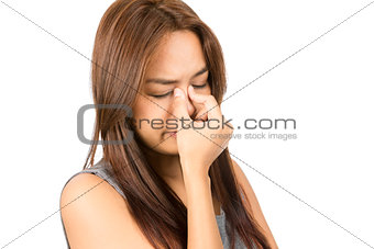 Sinus Congestion Headache Asian Woman Discomfort