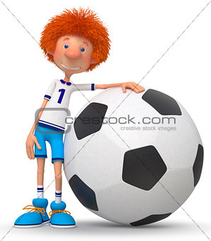 3d boy football player