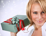 Sexy woman with gift box