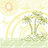 Exotic background, island a with palm