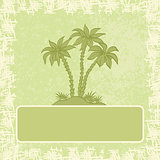 Exotic background, palm and frame