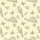 Seamless pattern, animals contours
