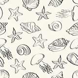 Seamless pattern, marine animals contours