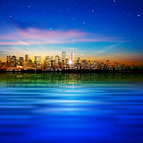 abstract background with panorama of vancouver and sunset