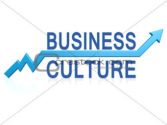 Business culture with blue arrow
