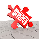 Privacy word with puzzle background