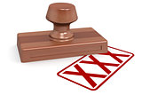 Wooden stamp xxx with red text